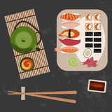 Delicious sushi, rolls and tee Stock Images