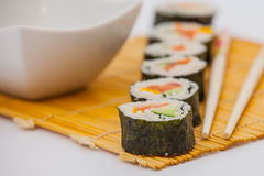 Delicious sushi rolls Royalty Free Stock Images