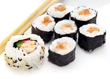 Delicious sushi rolls on white plate with chopsticks Royalty Free Stock Photos