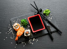 Delicious sushi with sauce Stock Photo