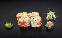 Delicious Sushi set. Uramaki sushi rolls Royalty Free Stock Image