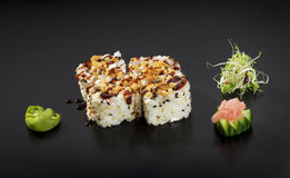 Delicious Sushi set. Uramaki sushi rolls Stock Photos