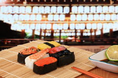 Delicious  sushi under japan temple Stock Photo
