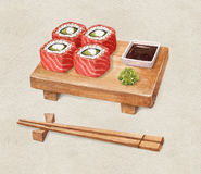 Delicious sushi, watercolor illustration Royalty Free Stock Photos