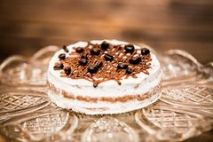 Delicious sweet baked cake with coffee beans royalty free stock photo