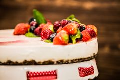 Delicious sweet baked cake with fruit stock image