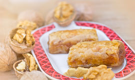 Delicious and sweet baklava. Closeup Stock Images