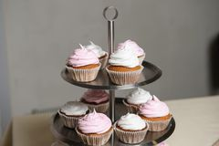 Delicious sweet buffet with cupcakes. Sweet holiday buffet stock photo