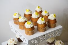 Delicious sweet buffet with cupcakes. Sweet holiday buffet royalty free stock photo