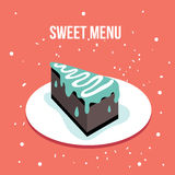Delicious sweet cake dessert plate Modern cute flat design style Stock Images