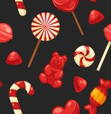 Delicious sweet candies in bright covers and lollipops in shape of cute hearts, striped cane and small teddy in seamless royalty free illustration