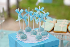 Delicious sweet candies, decorated in wedding style. With bows and colored custard Royalty Free Stock Photos