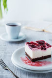 Delicious and sweet cheesecake with cherry jelly Royalty Free Stock Photo