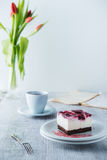 Delicious and sweet cheesecake with cherry jelly Royalty Free Stock Image