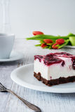 Delicious and sweet cheesecake with cherry jelly Stock Image