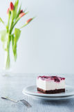Delicious and sweet cheesecake with cherry jelly Royalty Free Stock Photos