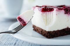 Delicious and sweet cheesecake with cherry jelly Stock Photography