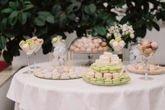 Delicious sweet cupcakes and candies, decorated in wedding style Royalty Free Stock Photos