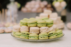 Delicious sweet cupcakes and candies, decorated in wedding style Royalty Free Stock Photo