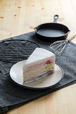 Delicious sweet dessert bakery rainbow color layer crepe cake wi. Th fresh strawberry sauce ,selective focus Royalty Free Stock Photos
