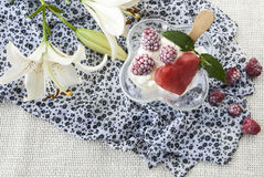 Delicious, sweet dessert, ice cream with raspberries. On a background of beautiful flowers,tasty food,Ice cream with berries on a background of white flowers Royalty Free Stock Photography