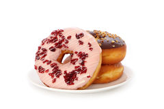 Delicious and sweet donut with cranberry Stock Photos