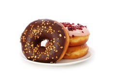 Delicious and sweet donut  on white backgr Royalty Free Stock Photo