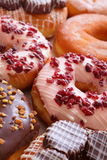Delicious and sweet donuts. Close up and detail stock photo