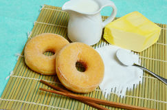 Delicious sweet donuts with sugar Stock Images