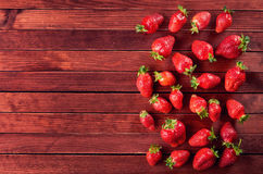 Delicious sweet fruit mix of strawberry  on wintage  brown woode Stock Photography