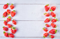 Delicious sweet fruit mix of strawberry  on wintage white wooden Stock Image