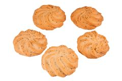 Delicious sweet handmade cookies on white background, top view. Fresh pastries, bakery, cafe concept stock photography