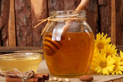 Delicious sweet honey with dipper in glass jar. Stock Image