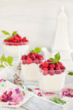 Delicious sweet  mousse decorated with fresh raspberries. Delicious sweet creamy mousse  in a glass decorated with fresh raspberries Royalty Free Stock Photography