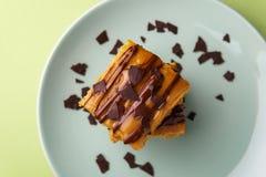 Delicious sweet potato blondies as brownie alternative - horizontal, top down stock photo