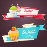 Delicious sweet set of glittering and sparkling banners Royalty Free Stock Photos