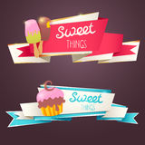 Delicious sweet set of glittering and sparkling banners Royalty Free Stock Photo