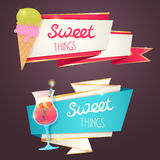 Delicious sweet set of glittering and sparkling banners Royalty Free Stock Images