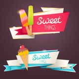 Delicious sweet set of glittering and sparkling banners Stock Photos