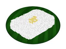 Delicious Sweet Sticky Rice on Banana Leaf Stock Photo
