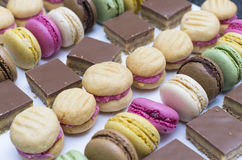 Delicious sweet treats. Including  melting moments, caramel slice and macarons Stock Photography