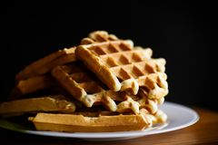 Delicious sweet waffles with jam Stock Images