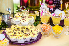 Delicious sweeties and beverages, staying on dessert table Stock Photography