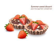 Delicious sweets and desserts with fruits Chocolate tartlets. Summer confectionary bakery treats Vector illustration Stock Photos