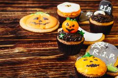 Delicious sweets for Halloween for children royalty free stock image