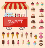 Delicious sweets and ice cream icons set. Delicious sweets and ice cream cart market icons set - vector Royalty Free Stock Images