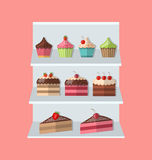 Delicious sweets piece cake stand market icons set. Delicious sweets and ice cream stand market icons set - vector Royalty Free Stock Photos