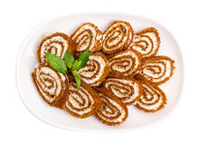 Delicious swiss roll with cream cheese. Royalty Free Stock Photo