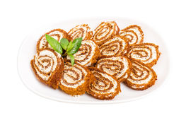 Delicious swiss roll with cream cheese. Stock Photo