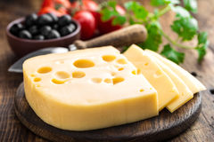 Delicious Swiss yellow cheese Stock Image